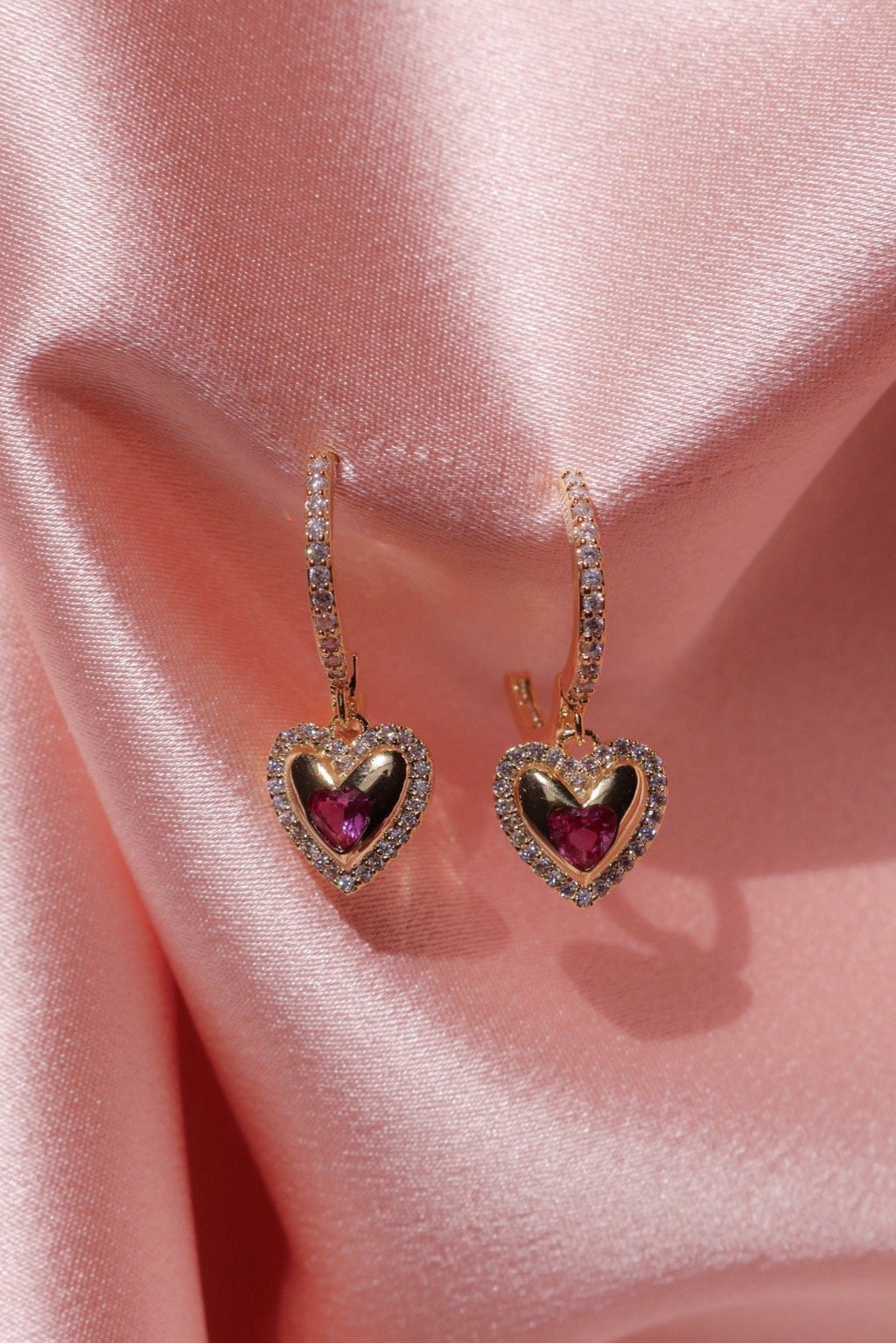 gold-plated heart earrings