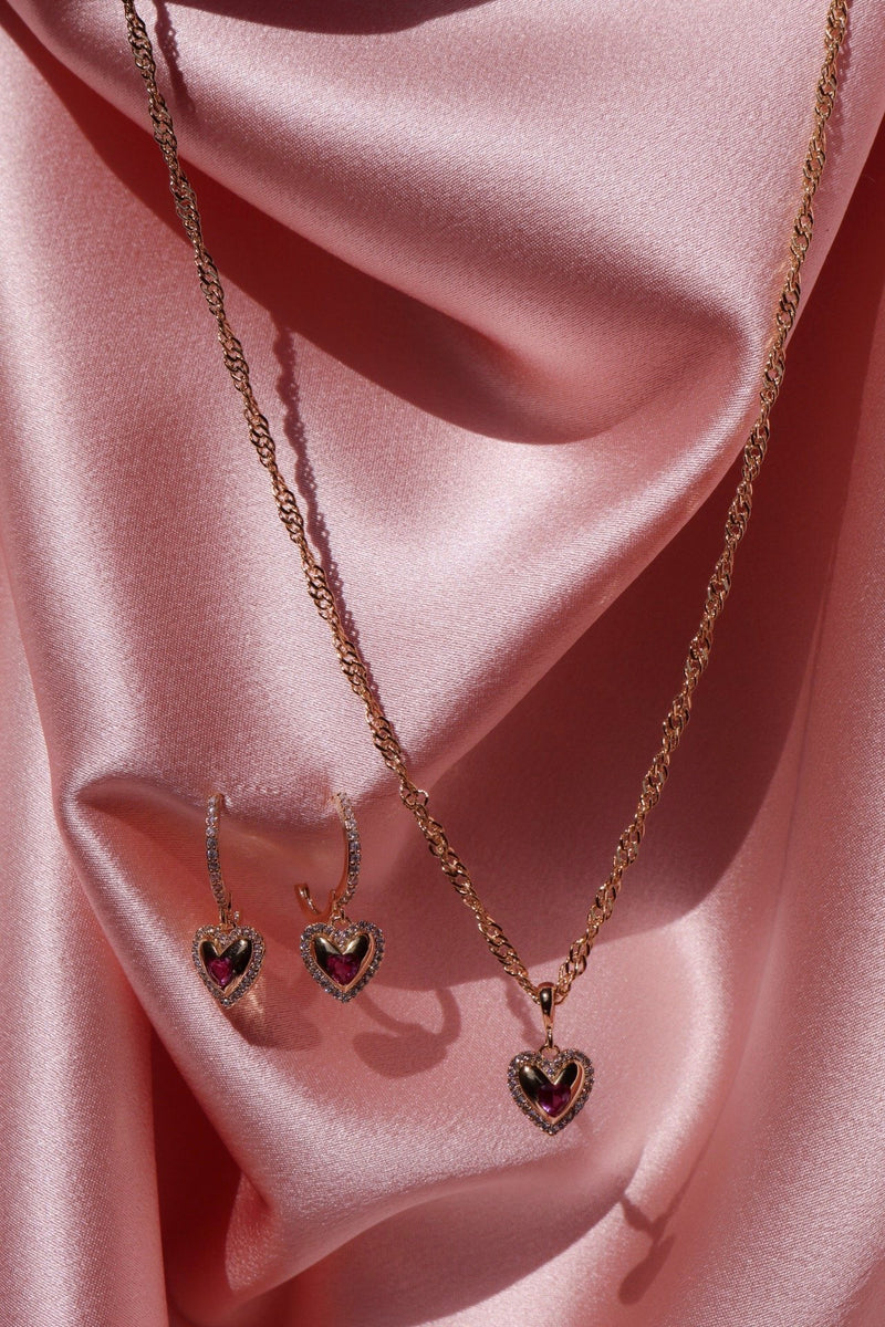 heart necklace and earrings with cubic zirconia