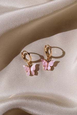 Blush Butterfly Huggie Earrings