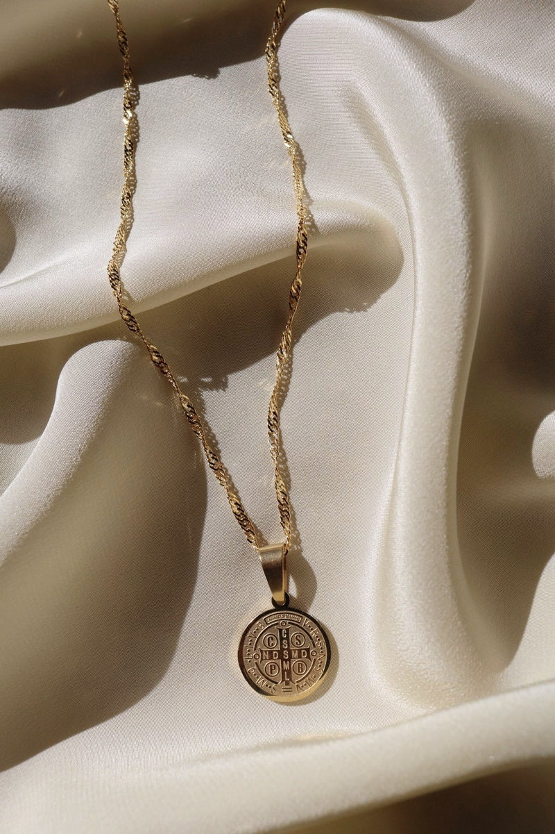 Gold Chain and Medallion Pendant with Cross Engraving