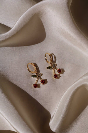 Gold plated cherry earrings
