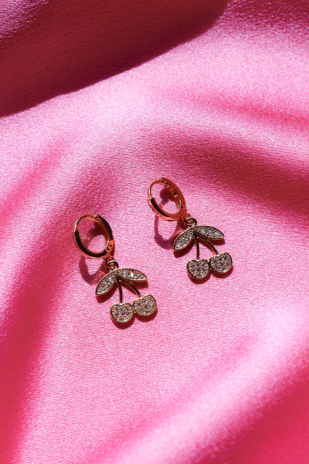 Gold plated cherry earrings with cubic zirconia