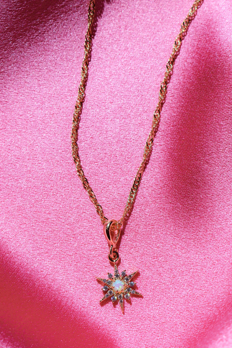 Star Pendant Necklace with Opal Stone