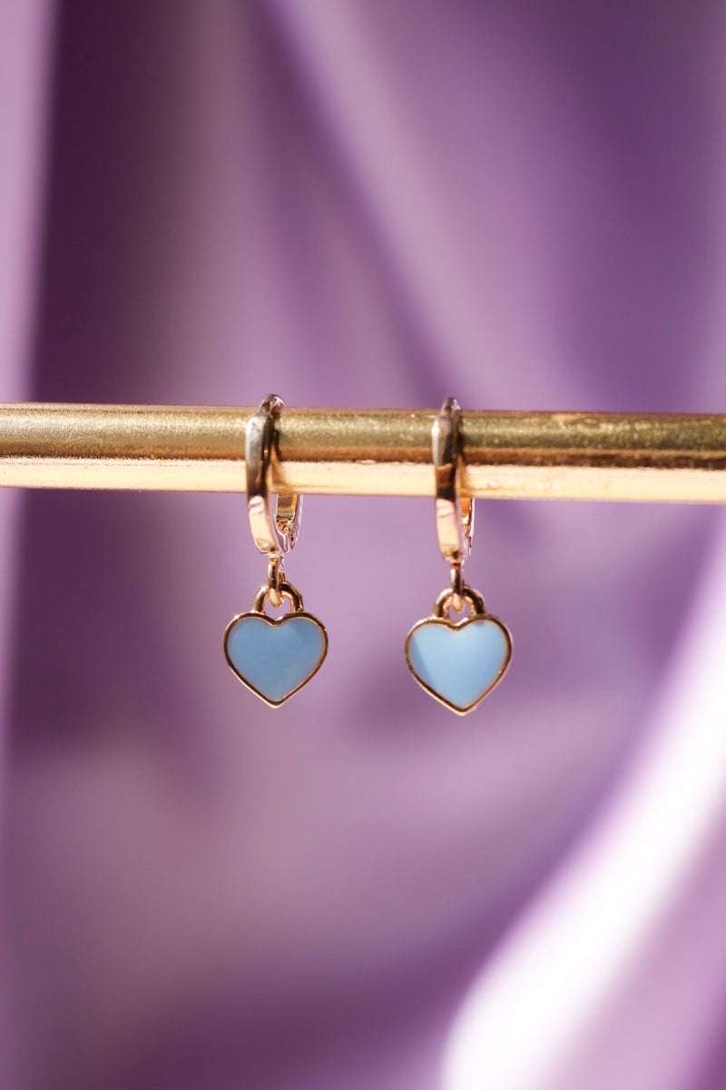 Cute blue heart earrings