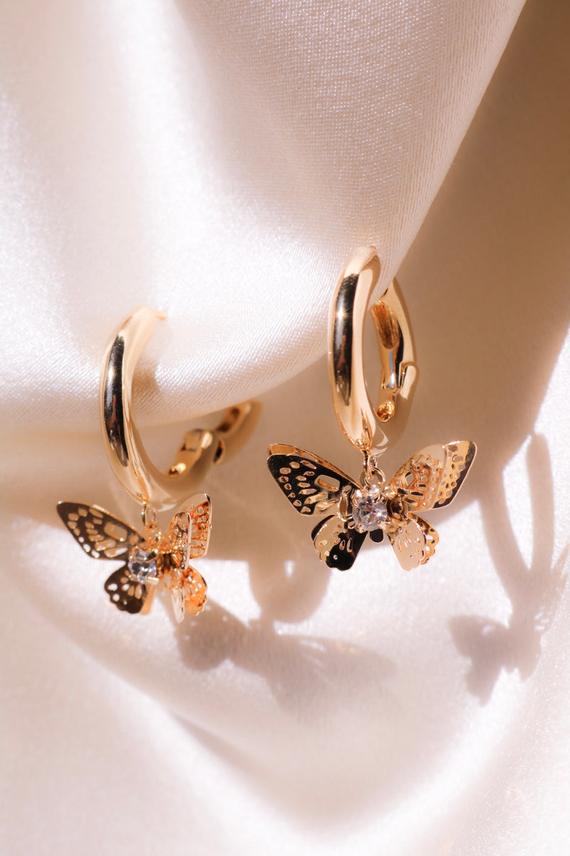 Romance Gold Plated Butterfly Drops