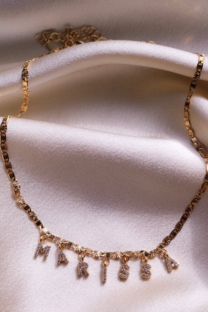 Gold Custom CZ Name Choker