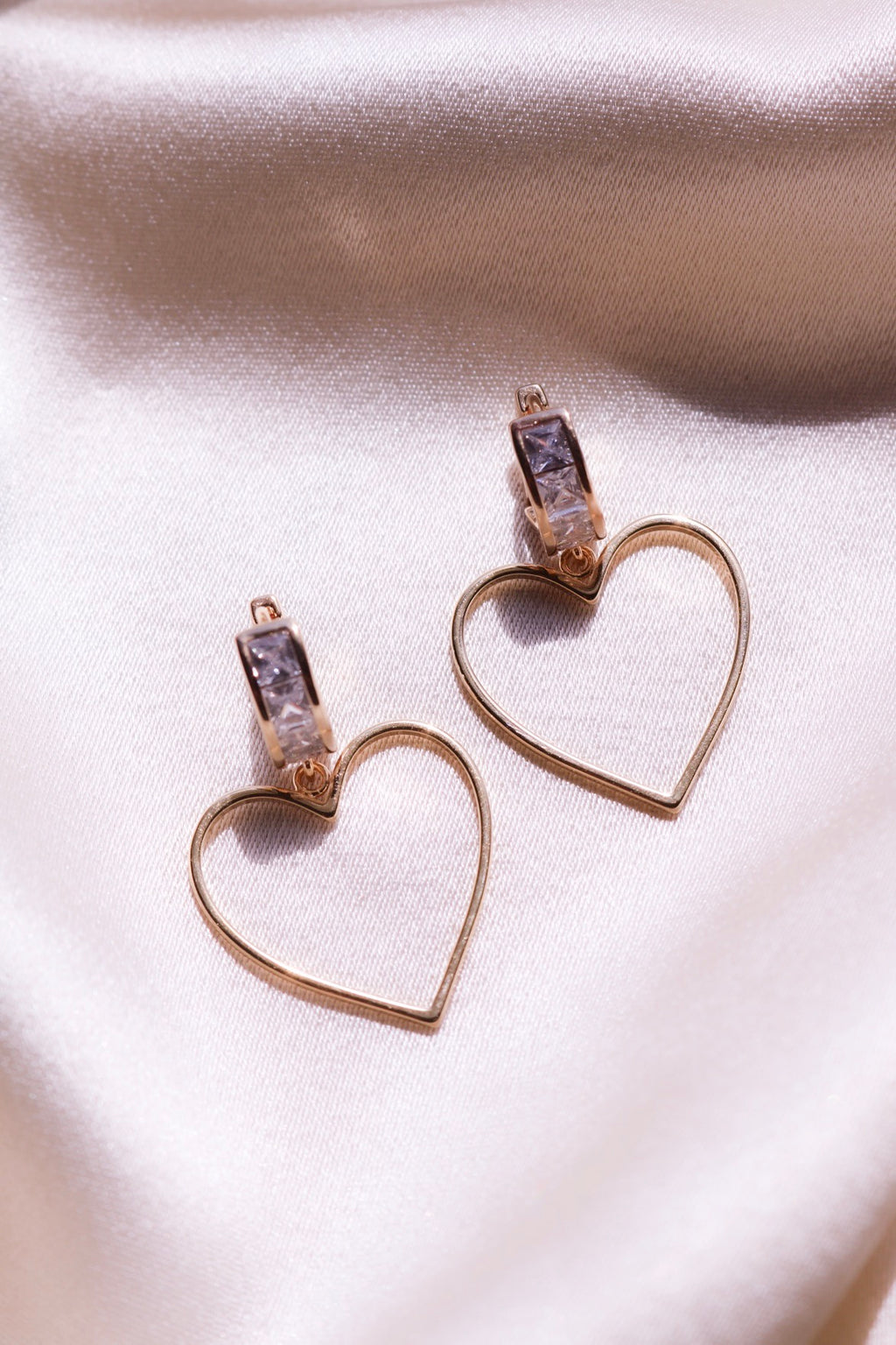 Gold Plated Heart Dangle Earrings