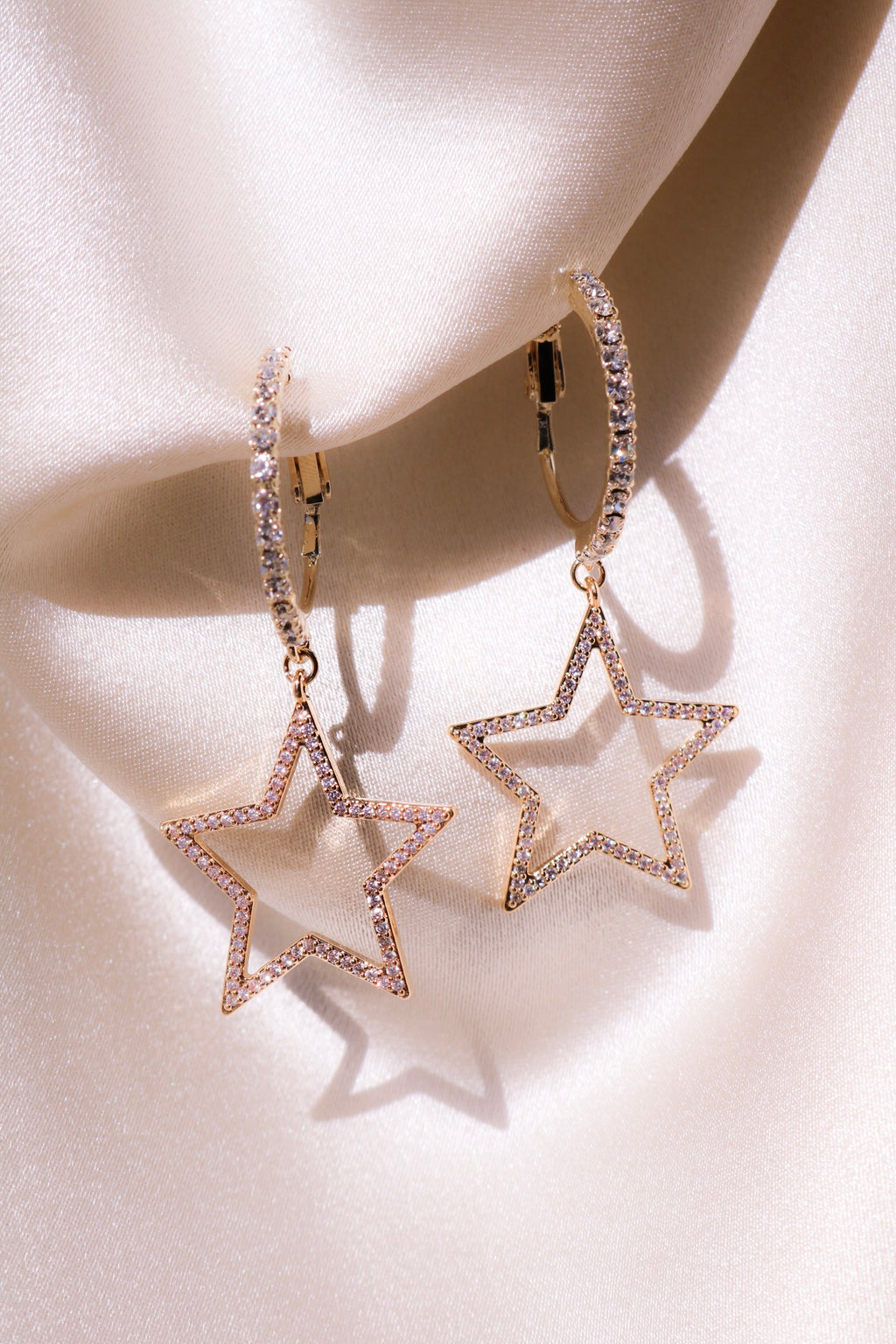 Star Drop Earrings with CZ Stones