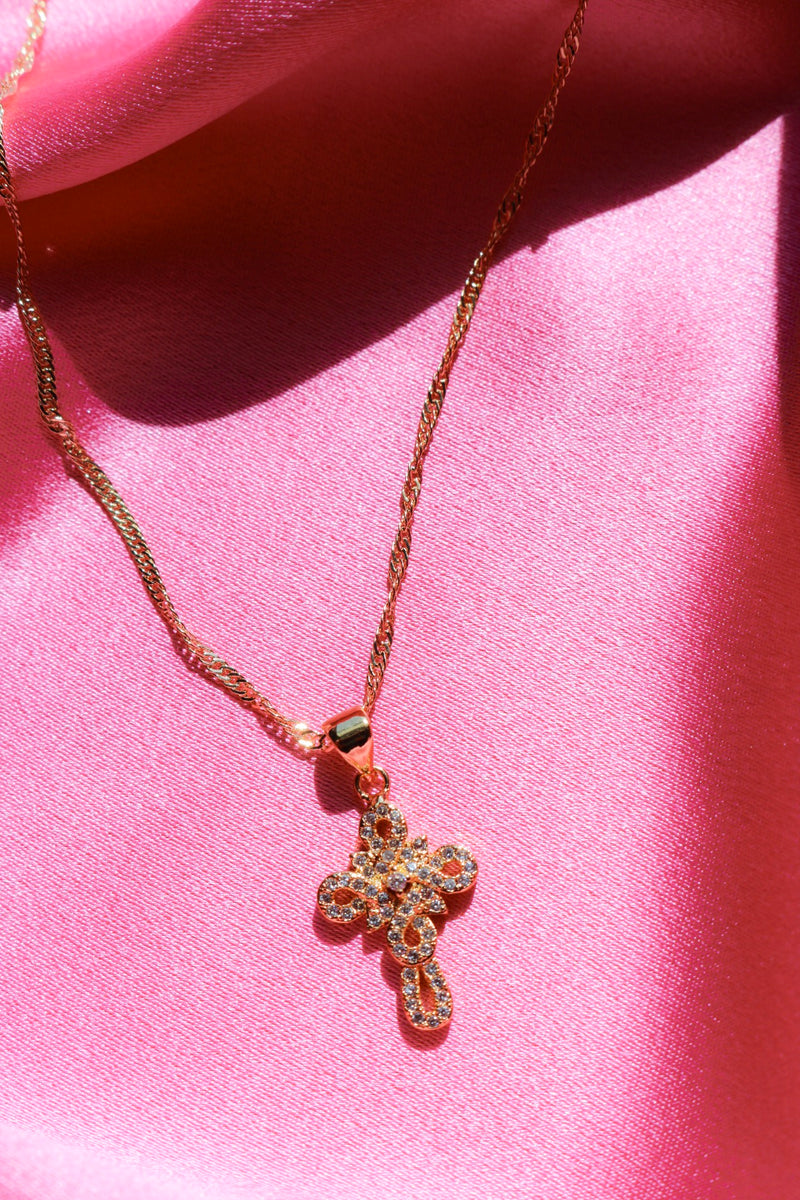 Gold Filled Cross Necklace with Stones
