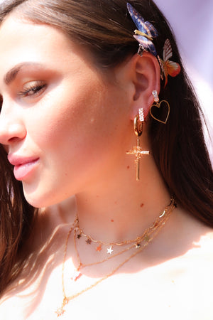 Cross Dangle Earrings, Square Hoop Earrings and Heart Earrings