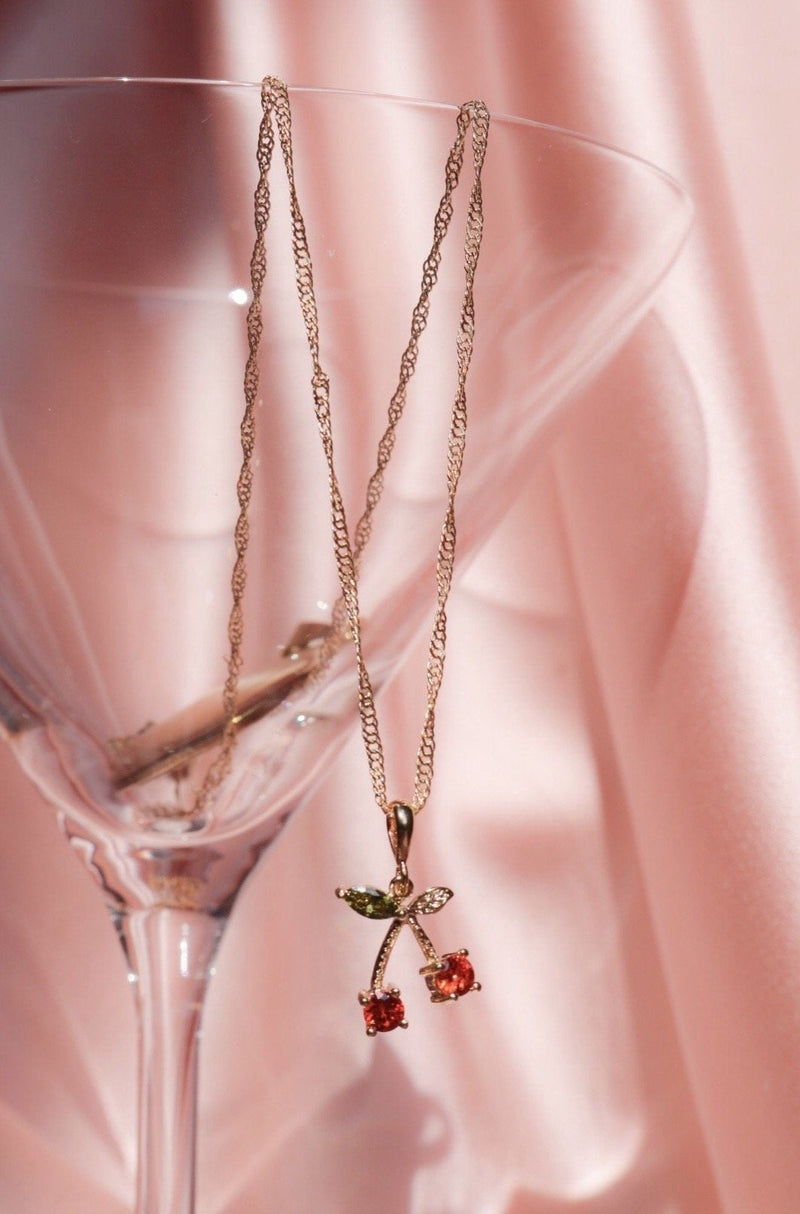 Gold plated cherry necklace