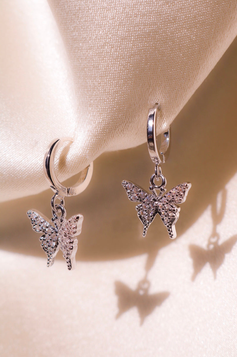 Butterfly Drop Earrings with Hoops