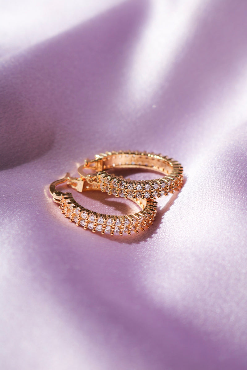 Gold Filled Hoop Earrings Lined with Cubic Zirconia