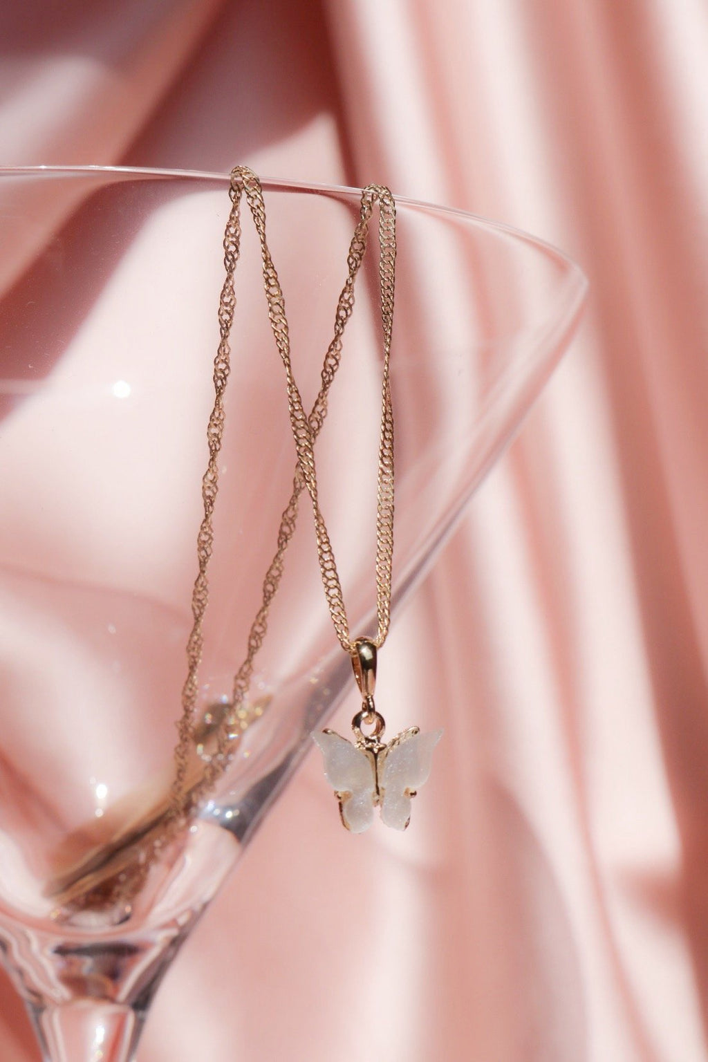 Pearly White Butterfly Necklace