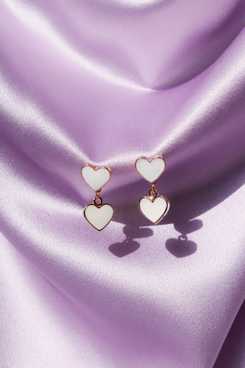 Lovely White Heart Earrings