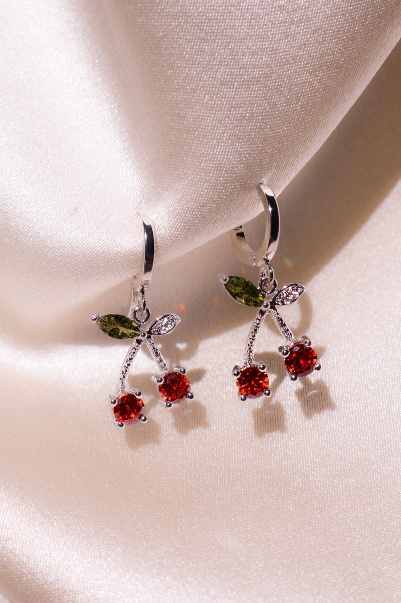 Silver Cherry Kiss Earrings