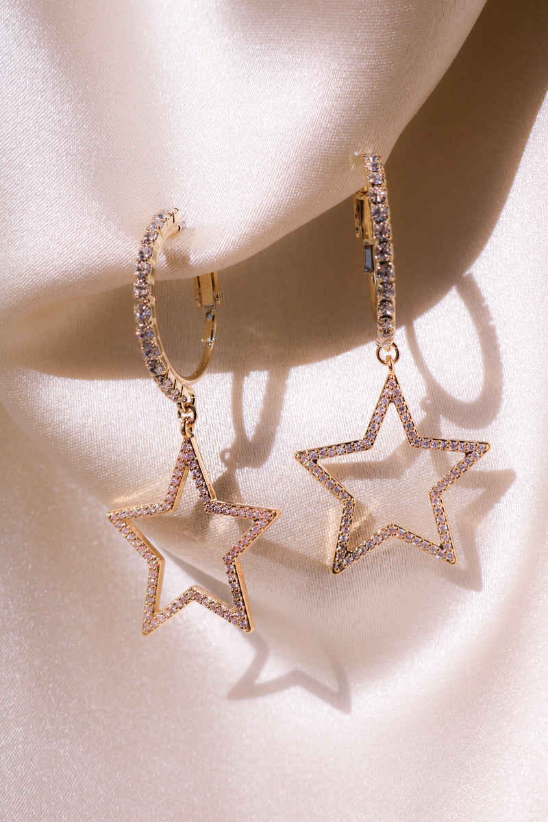 Star Earrings with CZ Stones
