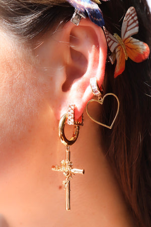 Gold Plated Square Hoop Earrings, Cross Dangle Earrings and Heart Earrings