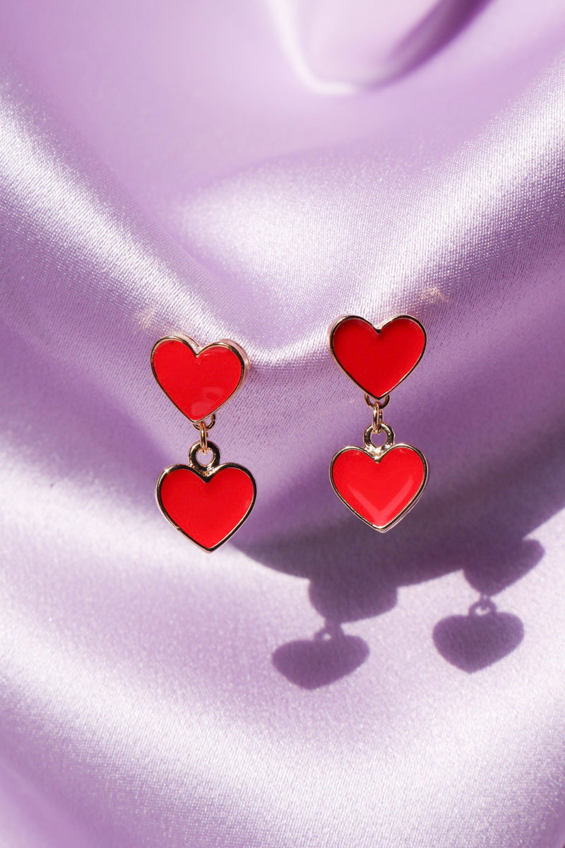 Sweetheart Earrings - Red