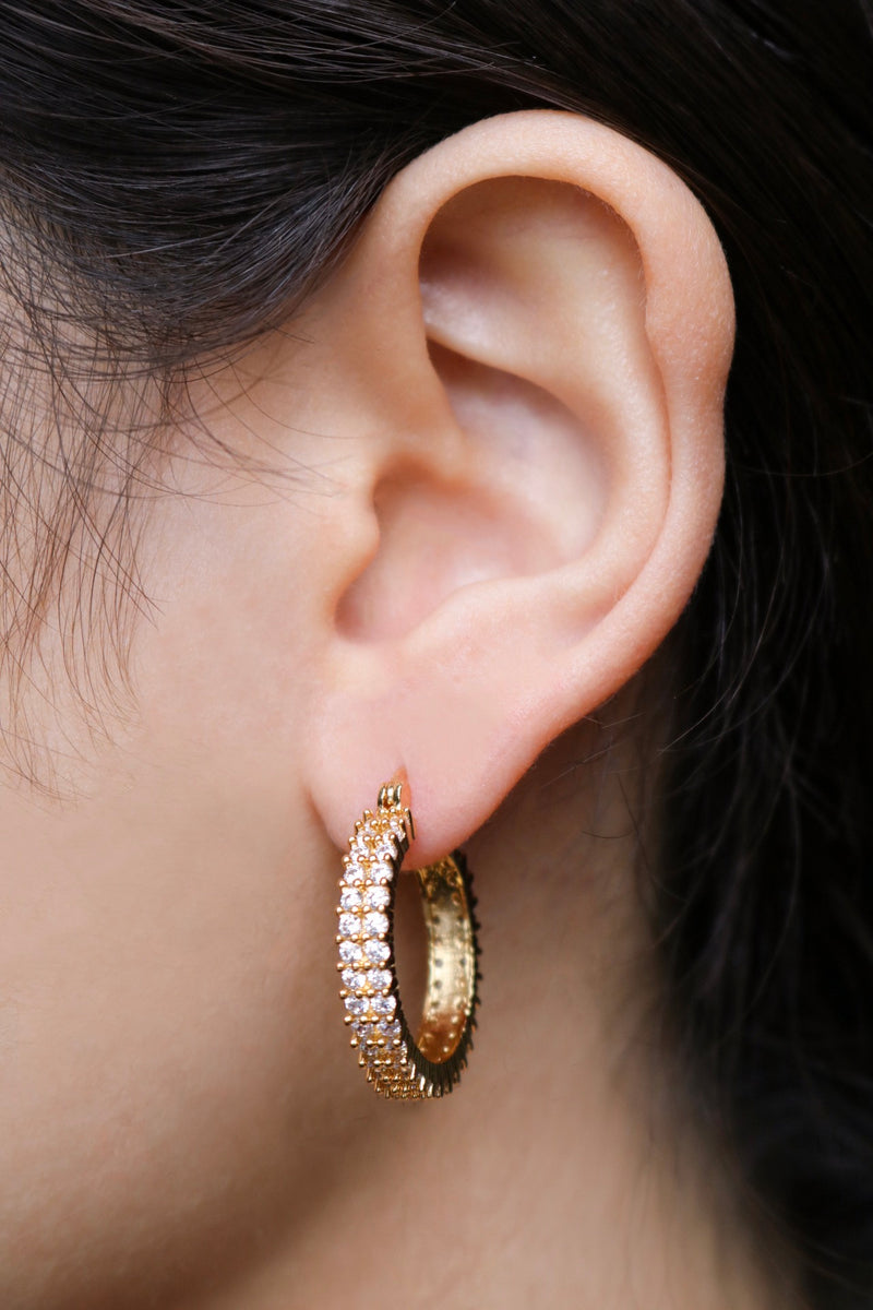Hoop Earring with Cubic Zirconia Stones