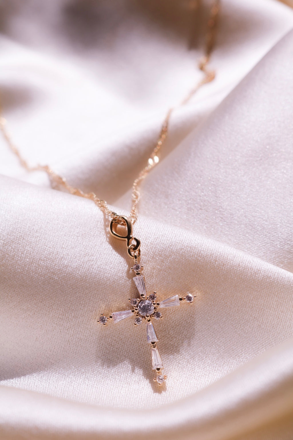 Cross Pendant with Cubic Zirconia Stones