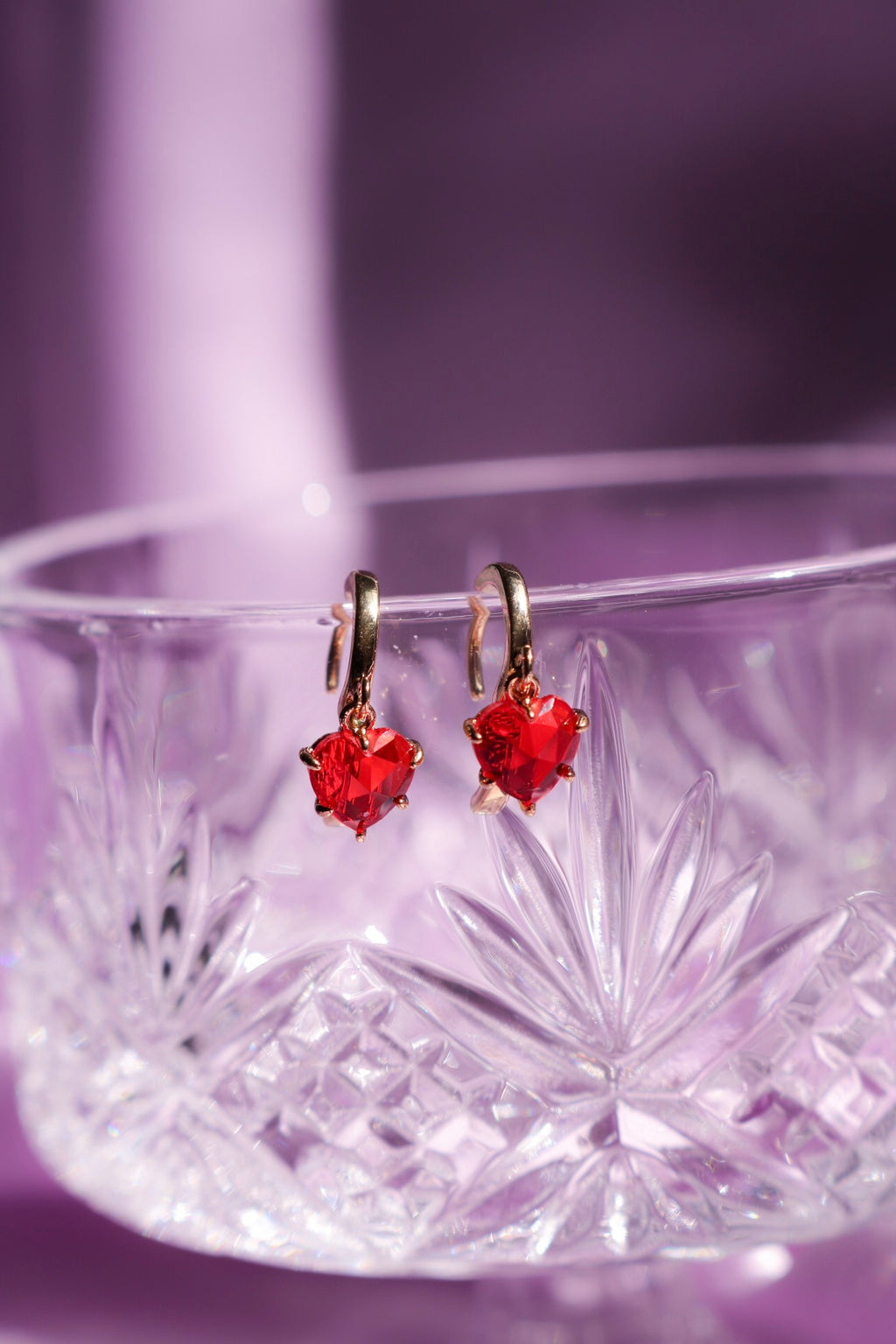 Red Gem Heart Earrings