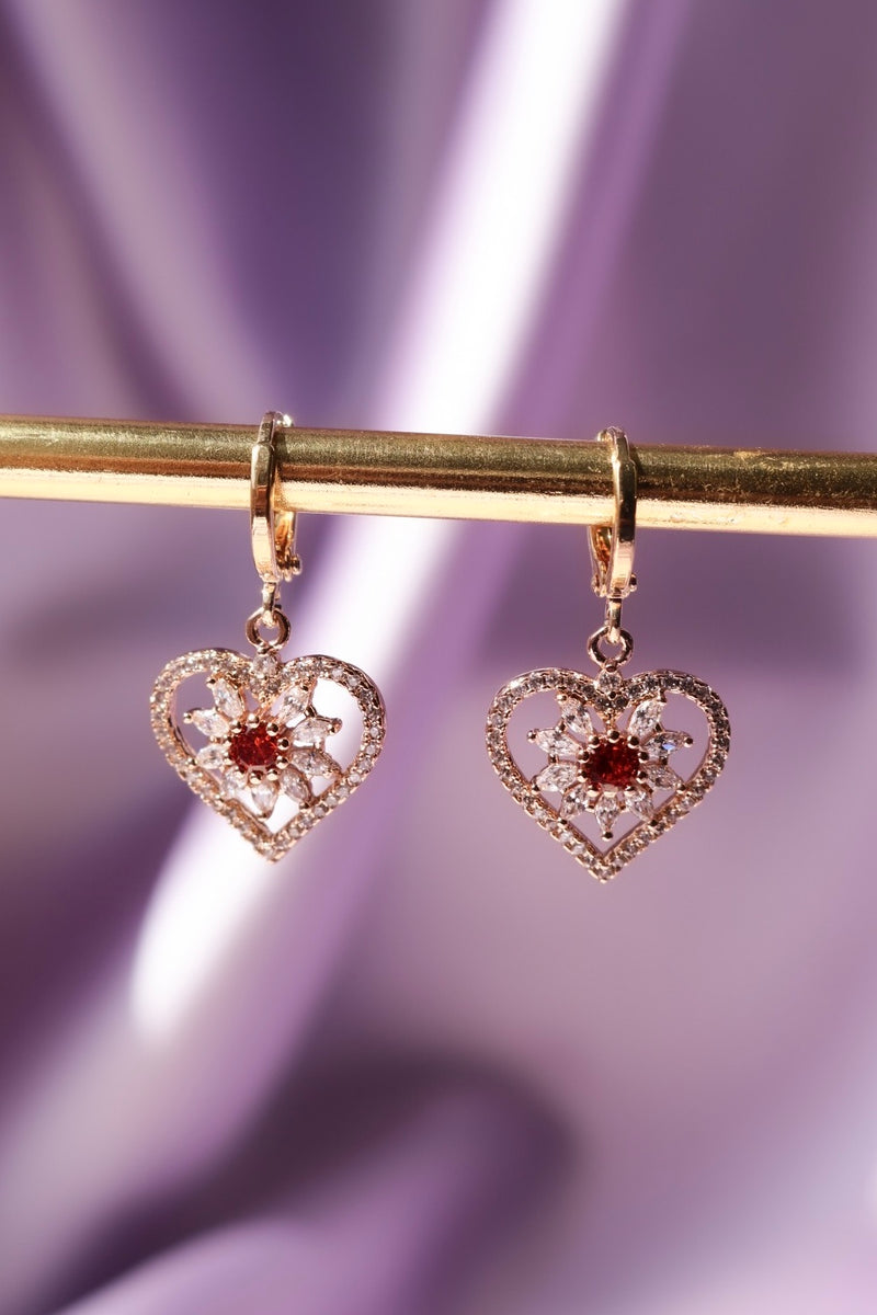Heart Dangle Earrings with White and Red Stones