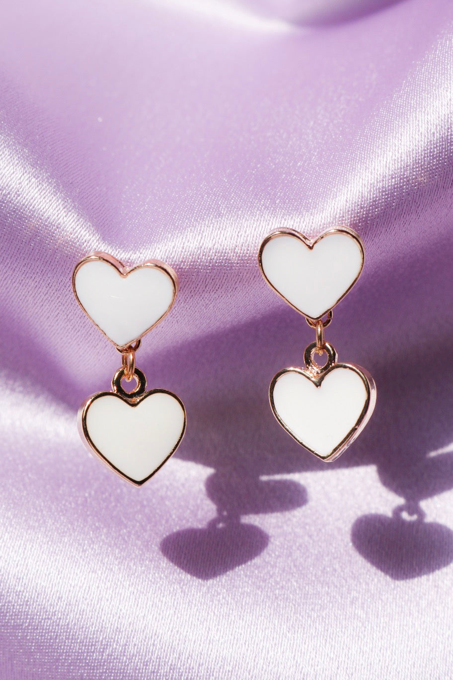 White Heart Drop Earrings