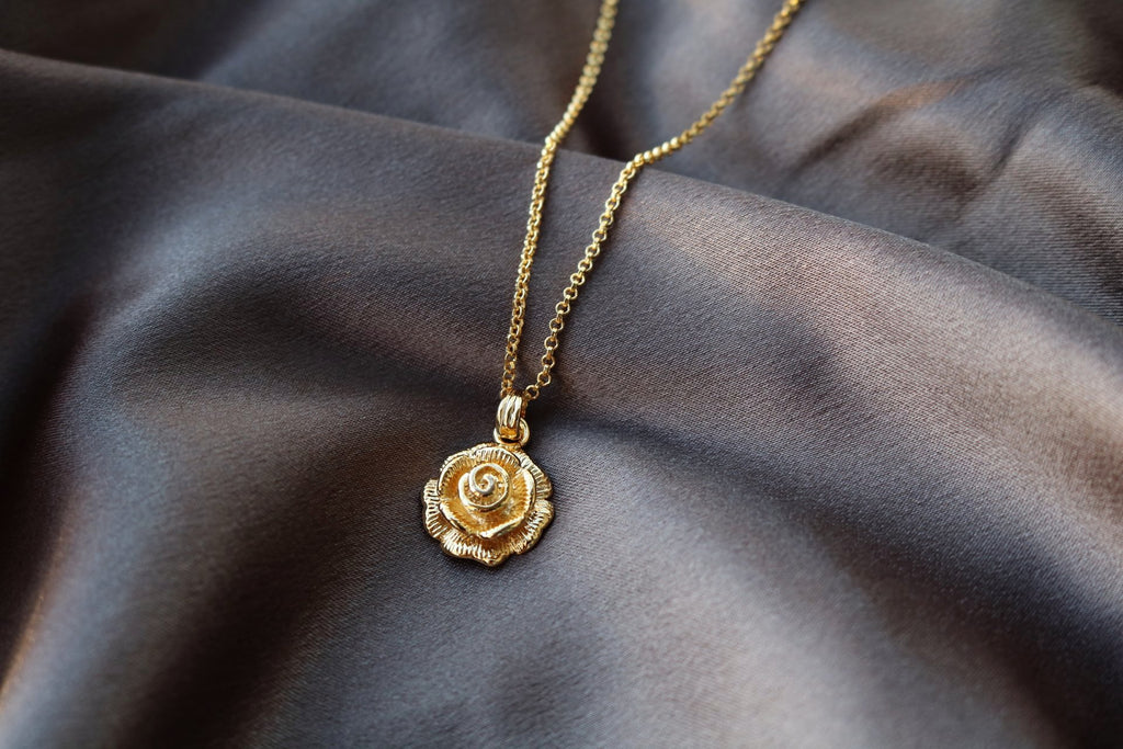 Gold Plated Chain and Rose Pendant
