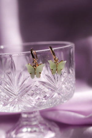 Mint Butterfly Huggie Earrings