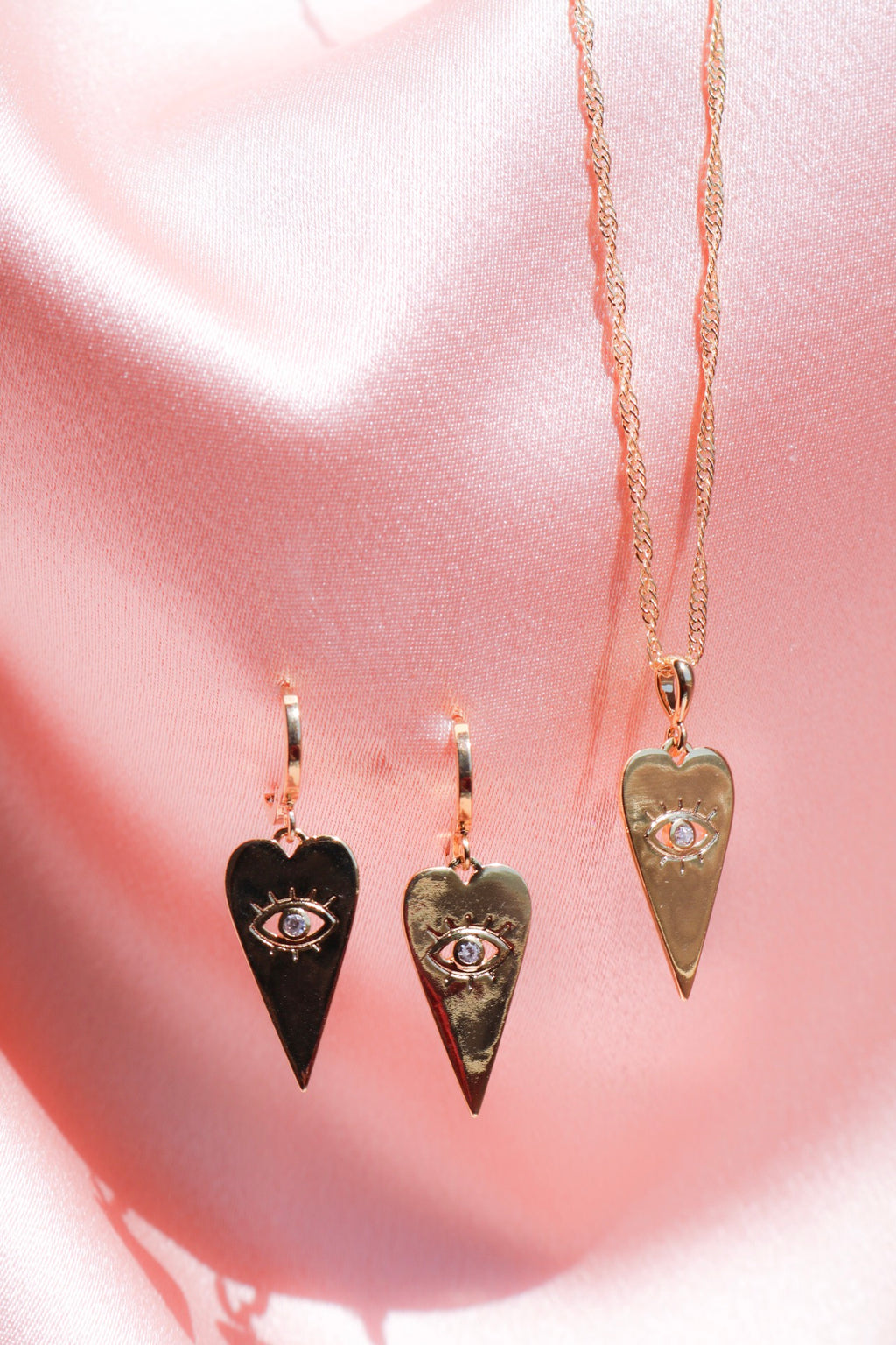 Good Fortune Eye Design Necklace and Earrings