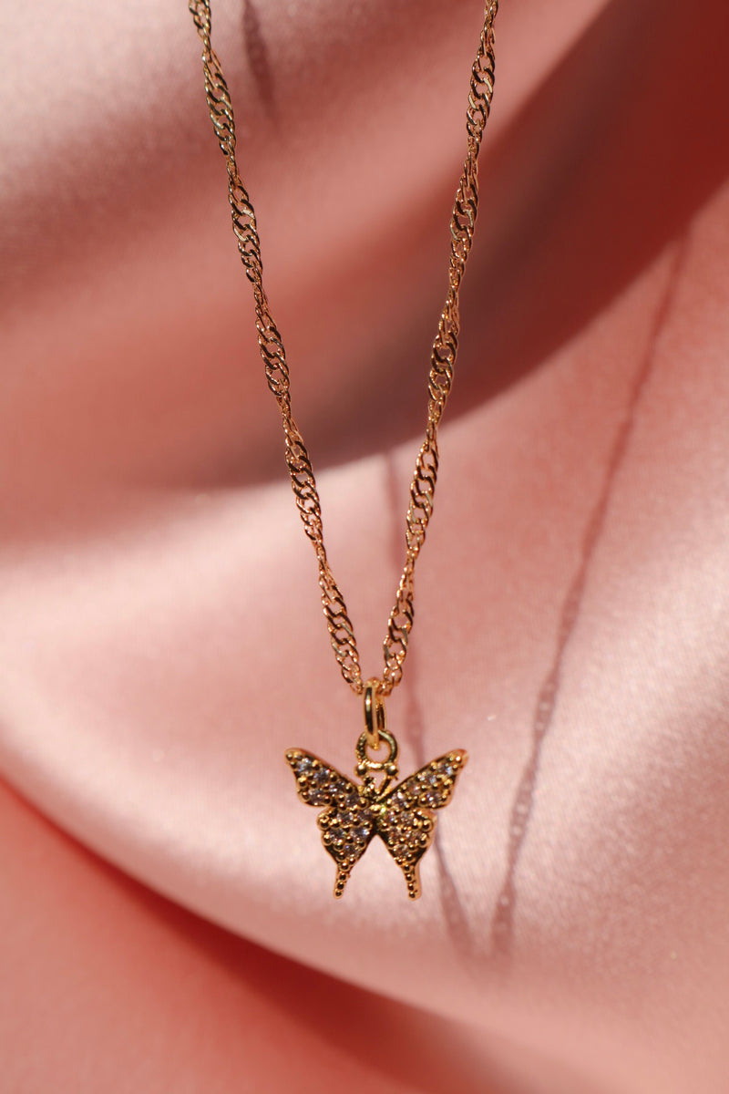 Petite Butterfly Necklace - Gold Filled