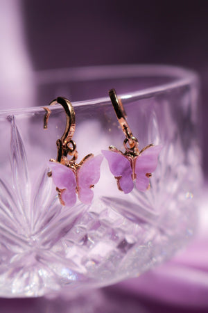Lavender Butterfly Huggie Earrings