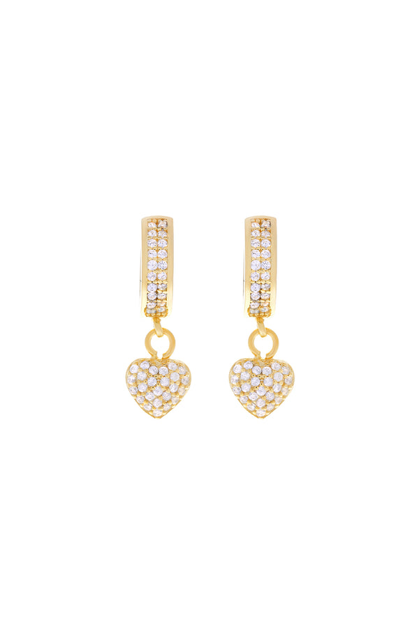 Amia Pavé Heart Vermeil Earrings-Chvker Jewelry