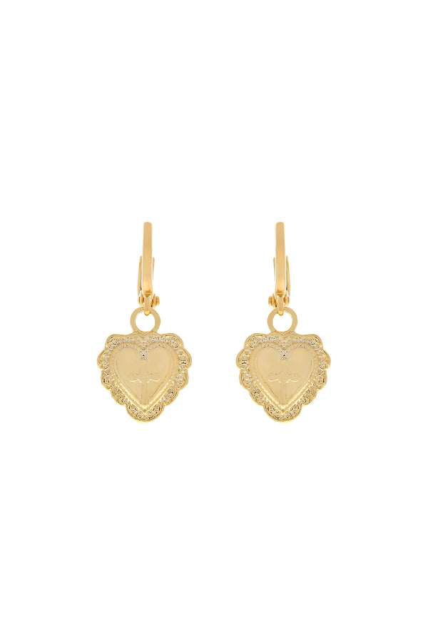 Amore Heart Huggie Earrings-Chvker Jewelry