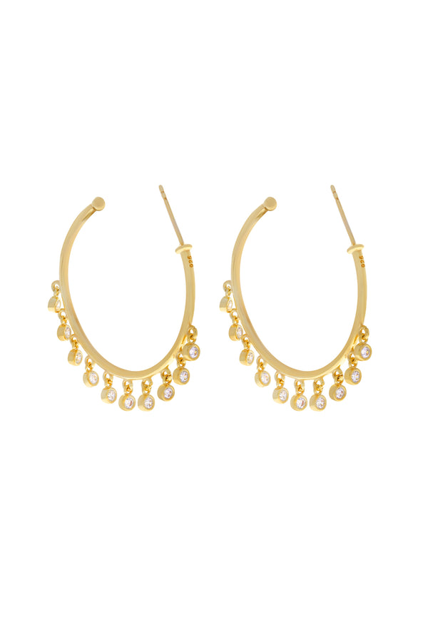 Anya Dangle Bezel Vermeil Hoops-Chvker Jewelry
