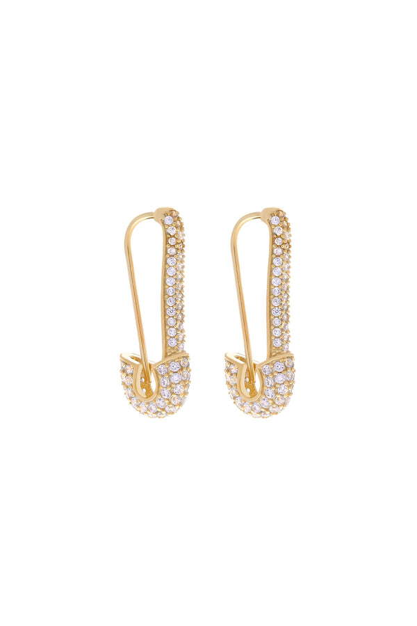 Azumi Safety Pin Vermeil Earrings-Chvker Jewelry