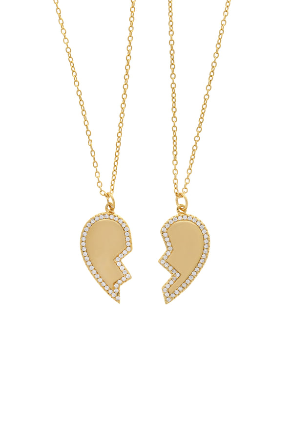 Best Friend Pavé Heart Vermeil Necklace-Chvker Jewelry
