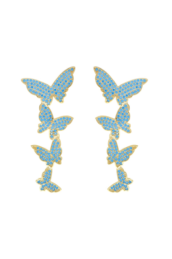 Blue Butterfly Cascade Pavé Vermeil Earrings image-Chvker Jewelry
