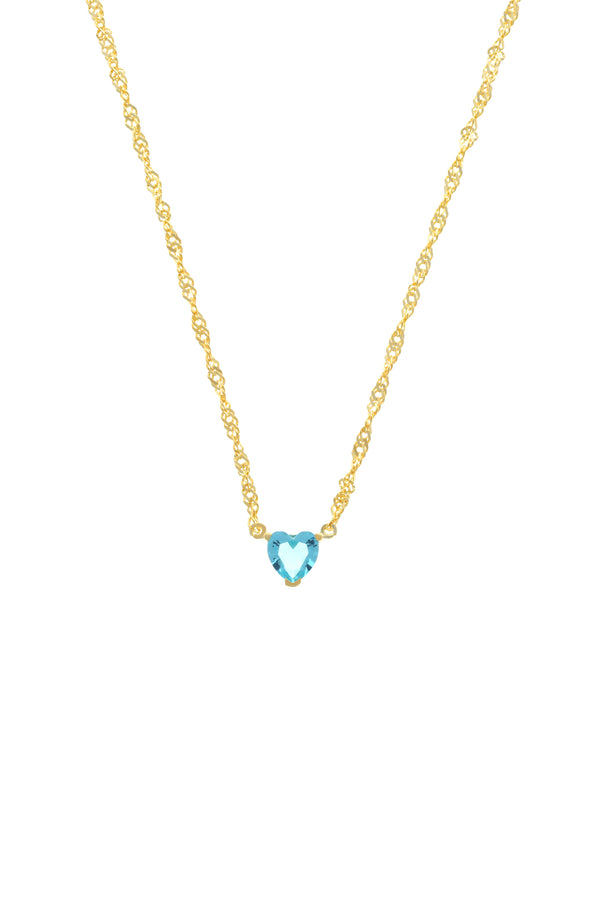 Blue Chéri Heart Vermeil Necklace image-Chvker Jewelry