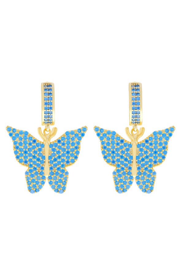 Blue Pavé Butterfly Vermeil Earrings-Chvker Jewelry