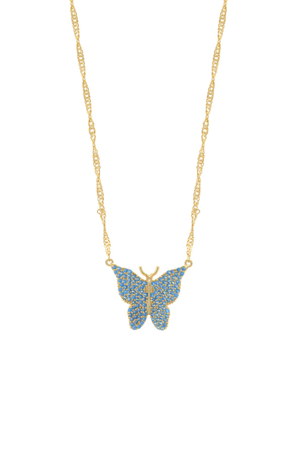 Blue Pavé Butterfly Vermeil Necklace-Chvker Jewelry