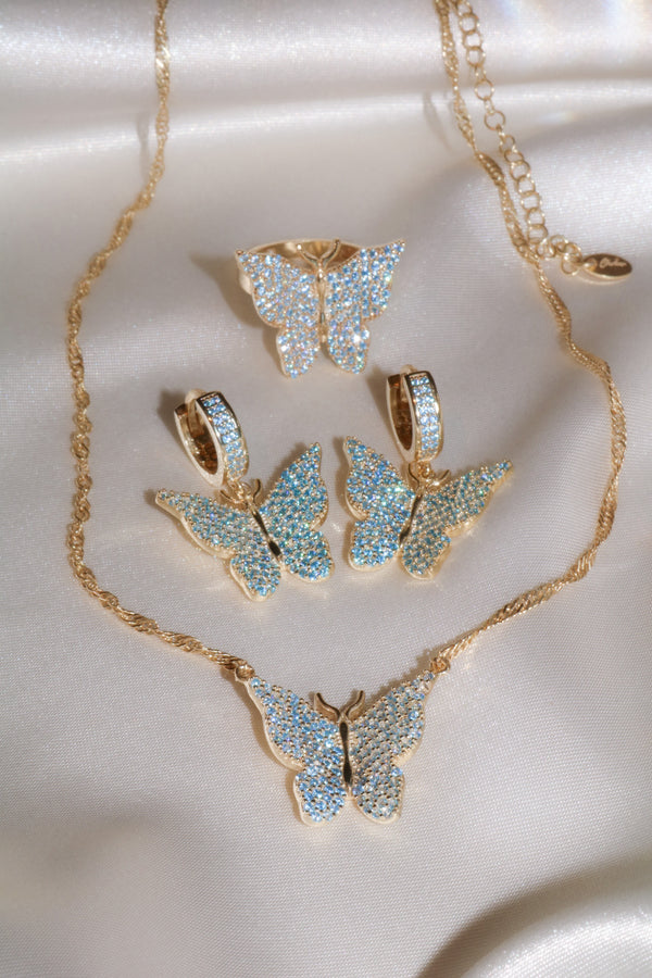 Blue Pavé Butterfly Vermeil Set