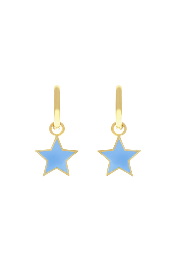 Blue Pop Star Vermeil Hoops-Chvker Jewelry