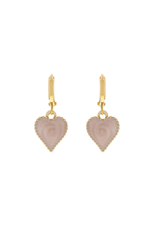 Blush Baby Love Heart Earrings-Chvker Jewelry
