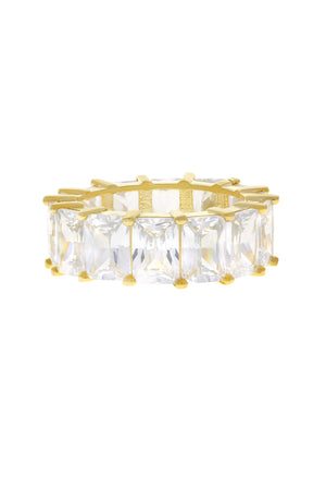 Clear Baguette Eternity Band Vermeil Ring