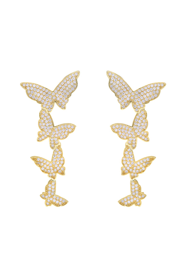 Clear Butterfly Cascade Pavé Vermeil Earrings image-Chvker Jewelry