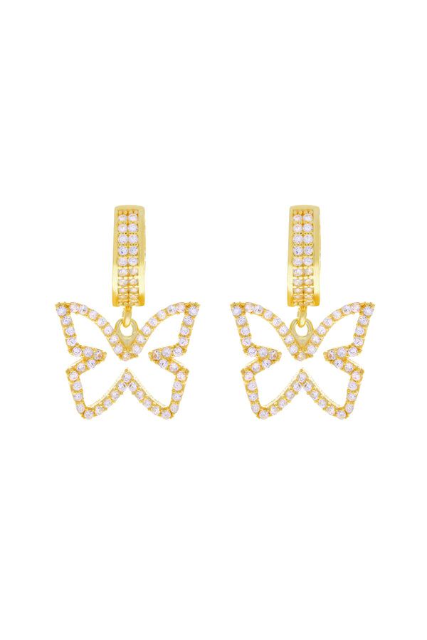 Clear Farasha Pavé Butterfly Vermeil Earrings image-Chvker Jewelry
