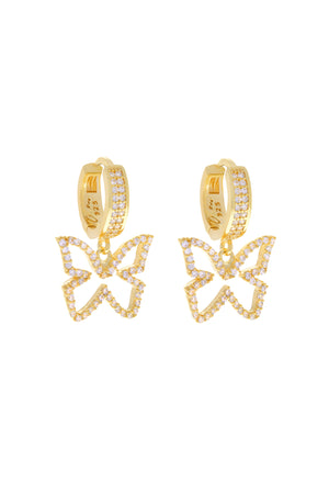 Clear Farasha Pavé Butterfly Vermeil Earrings