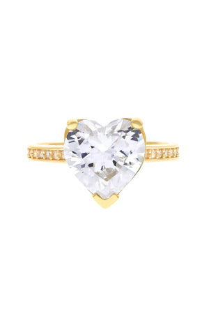 Clear Paris Heart Vermeil Ring